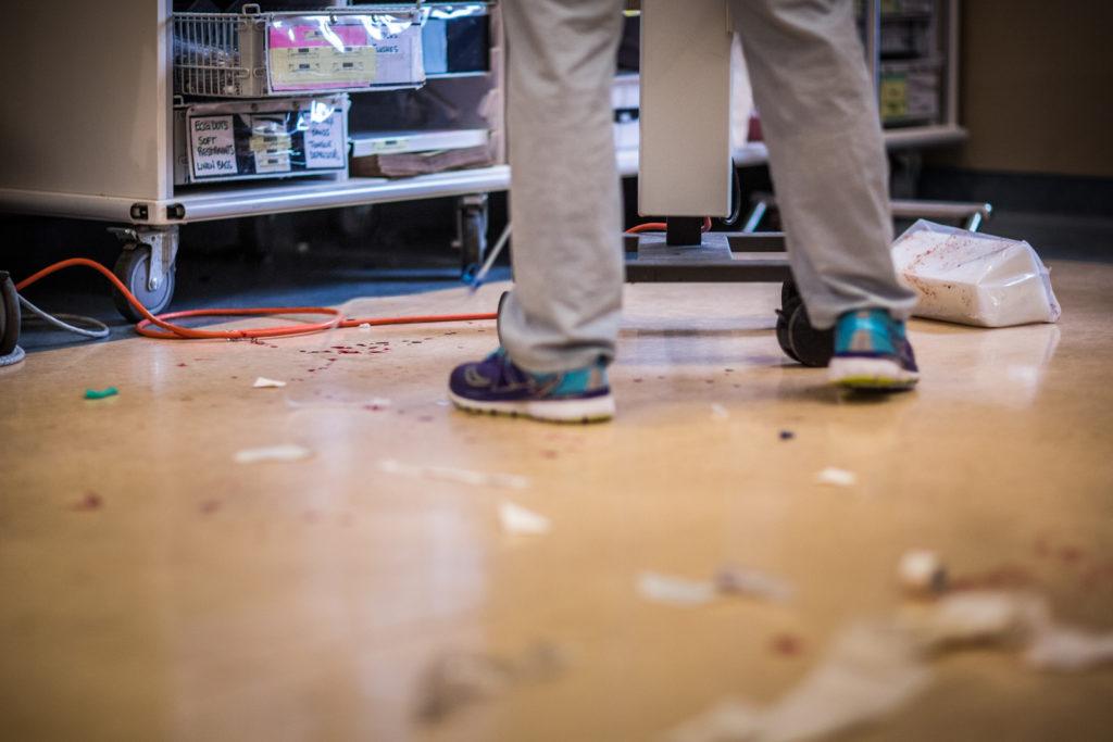 blood splattered floor