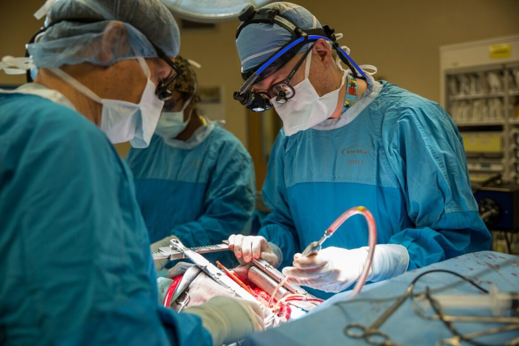 In the operating room during open heart surgery