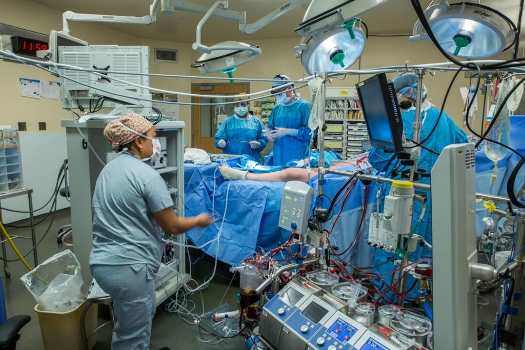 a view of the operating room