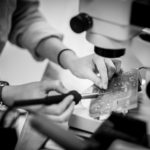 soldering under microscope
