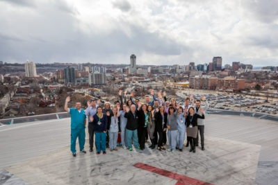 Hamilton General Hospital's cardiac team on the helipad