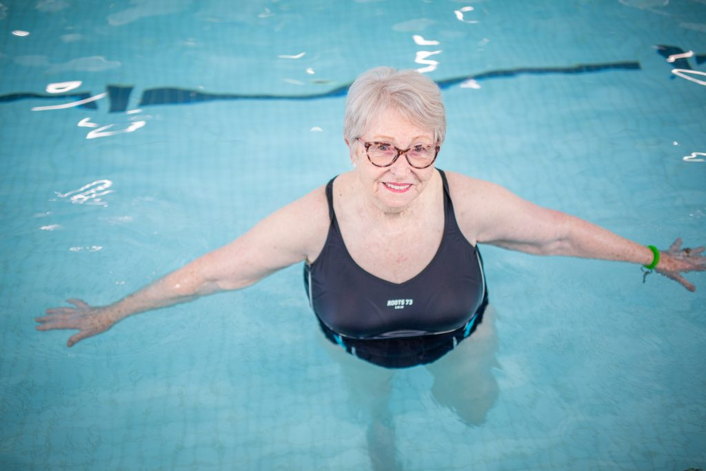 Annette Attwood in the swimming pool at the YMCA