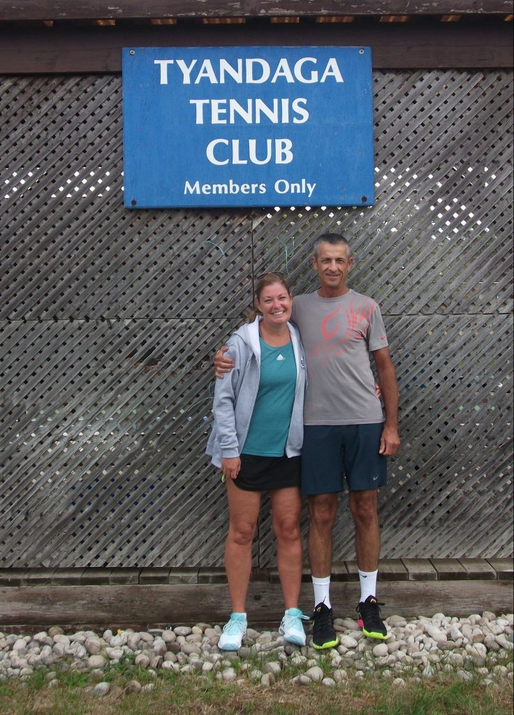 Chris and Shelley at a tennis tournament after his heart attack
