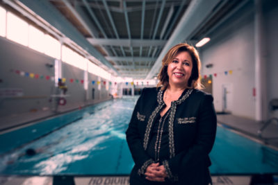 Dr. Alexandra Papaioannou by the YMCA swimming pool