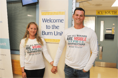 Patient Phil and his wife, Tanya, stand outside the Burn Unit
