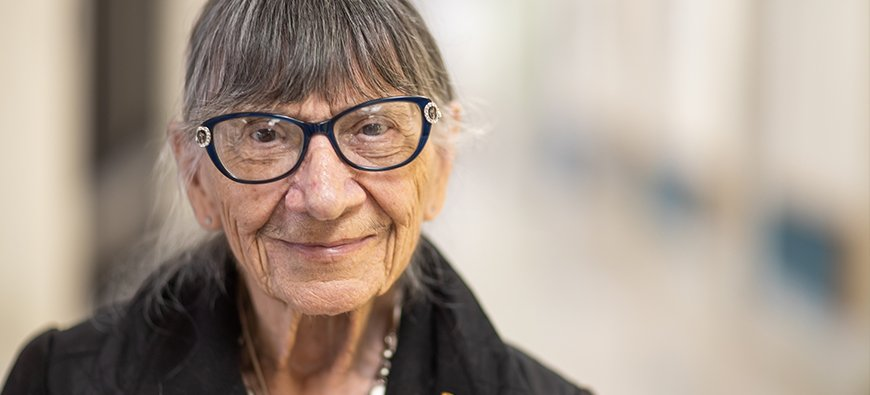 portrait of a 93-year-old volunteer