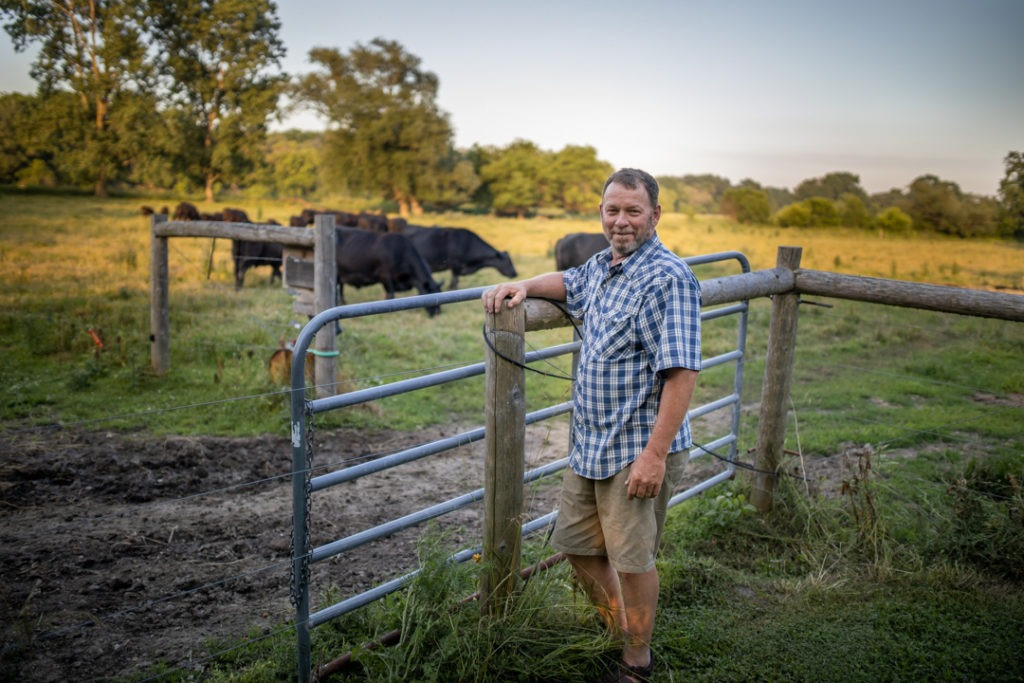 same-day joint replacement patient, David Harbottle on his cow farm