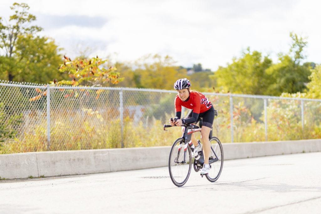 Shelley Wikahymer on her bike