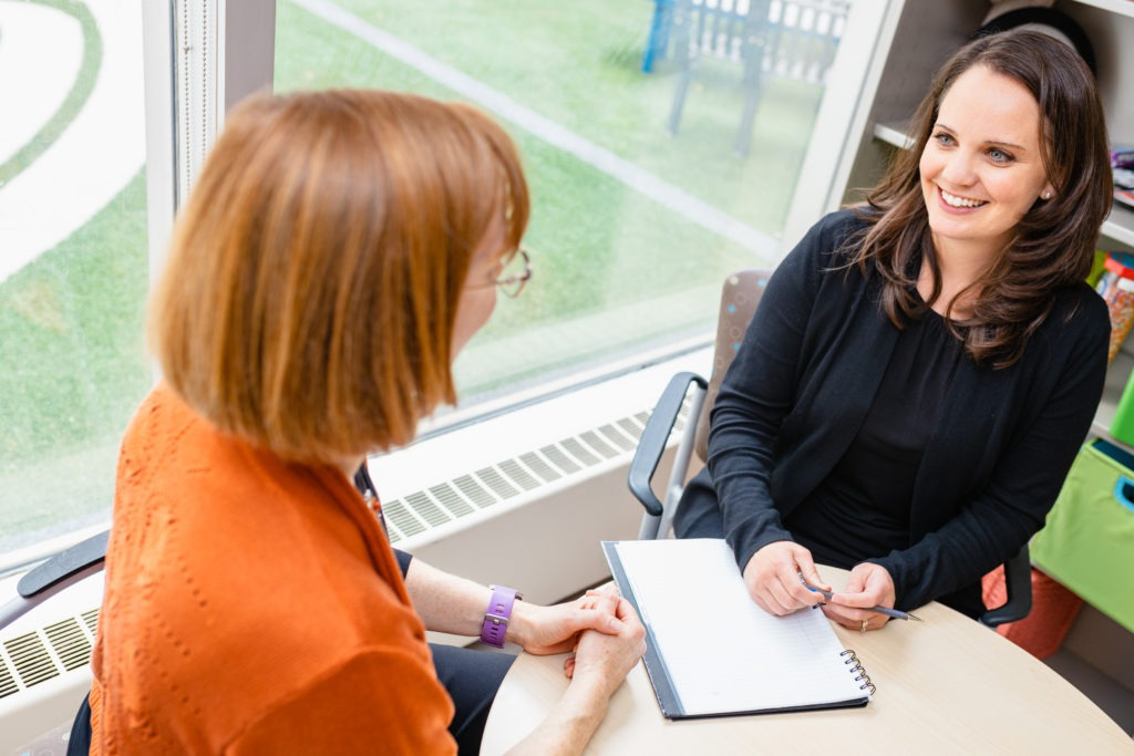 Counsellor Christina speaks with Dawn