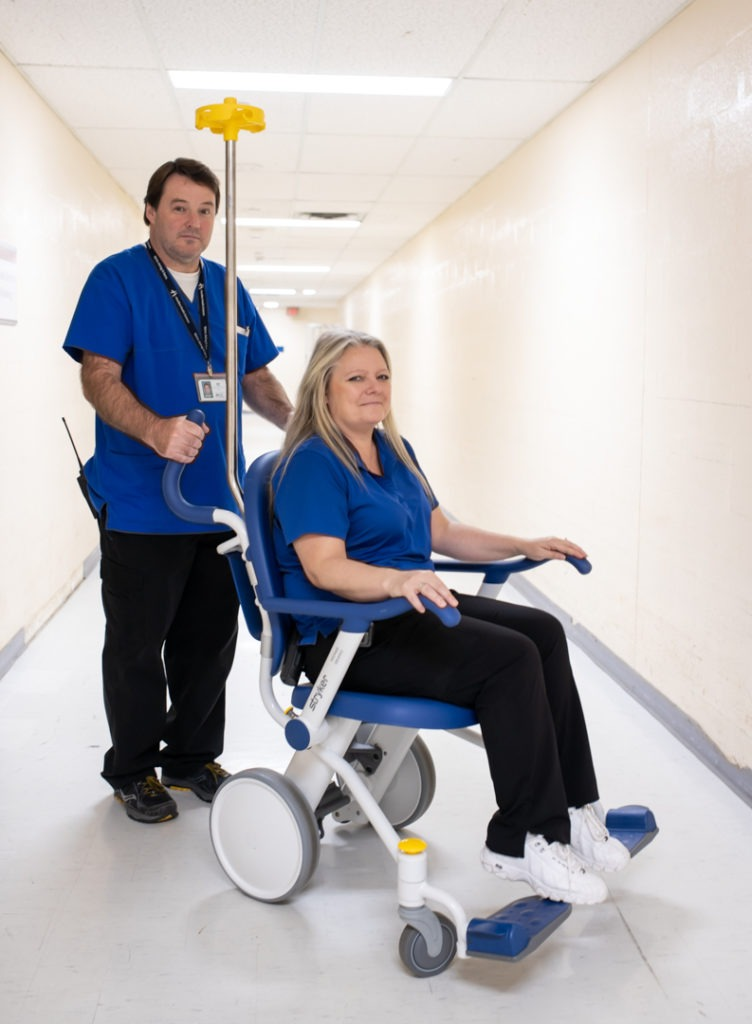 New patient transport chairs with porters