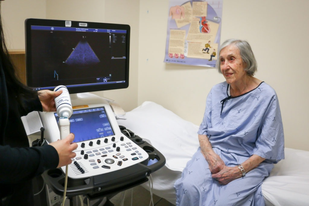 Madeleine has her heart checked after her valve replacement