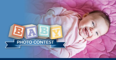 baby photo contest text over baby smiling