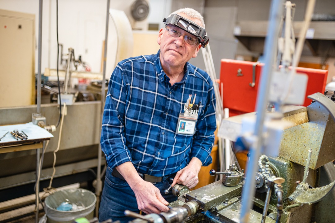 George Boyes, a biomedical technologist, working in his shop at MUMC.