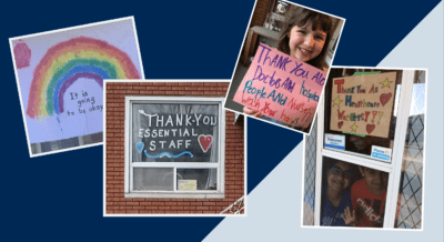 photos of signs supporting healthcare workers