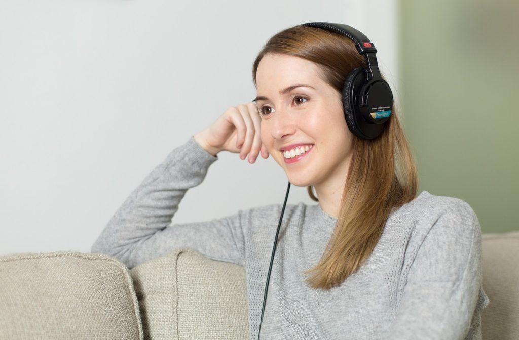 Women wearing headphone