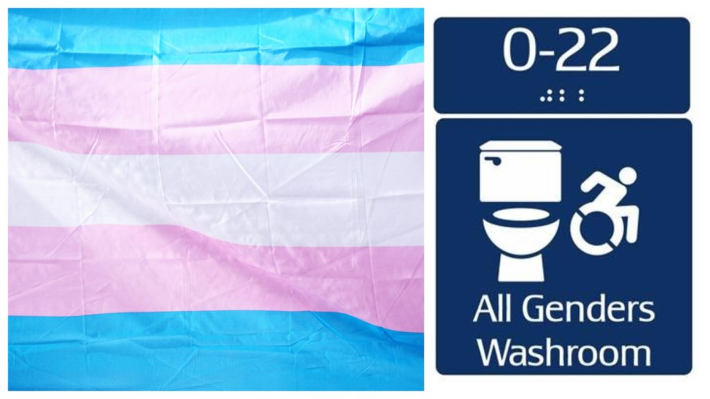 A blue, pink and white Transgender flag beside a sign for an all-genders washroom.