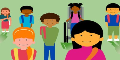 A illustration of seven children, including one using a wheelchair