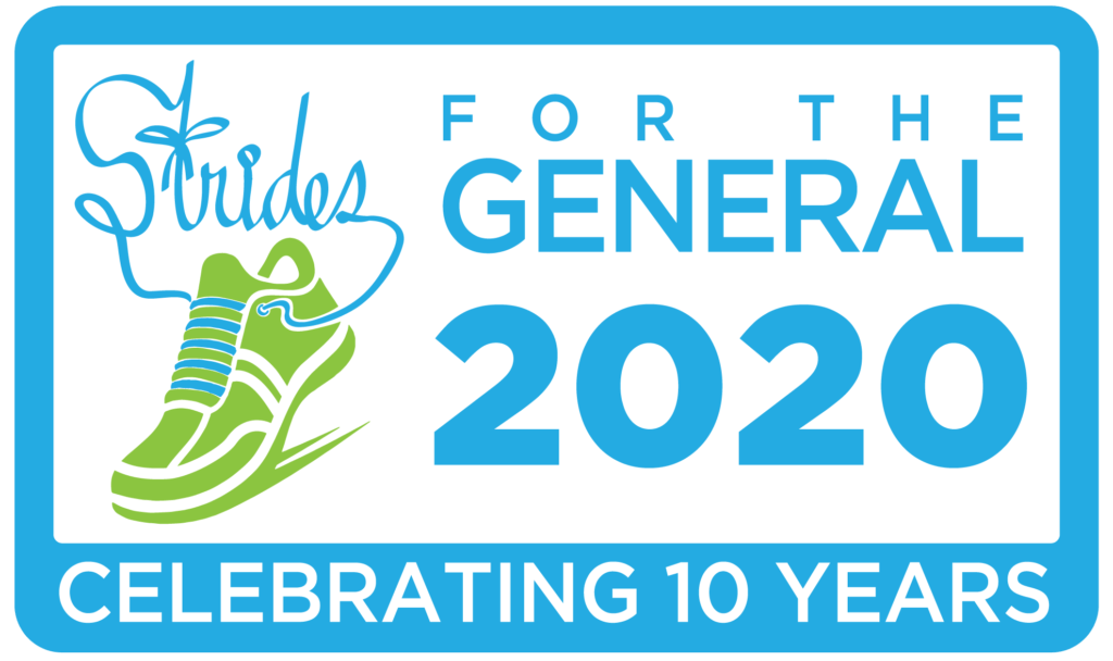 The Strides For The General 2020 logo, which mentions that we're celebrating 10 years