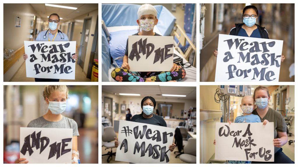 Wear a Mask for Me - photos of three healthcare providers and three patients holding signs