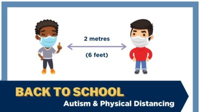 "An illustration of two boys wearing masks, with an arrow between them showing two metres. Text ""Back to school: Autism & Physical Distancing"""