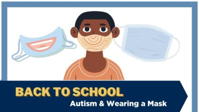 An illustration of a child wearing a facemask, with two other masks in the background, one showing a smile decoration. Text: Back to school - Autism & wearing a mask