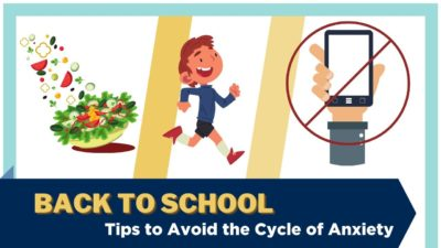 An illustration showing a salad, a child running, and a cell phone with a do-not-use symbol. Text: Back to school - Tips to avoid the cycle of anxiety