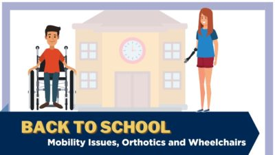 An illustration of a child in a wheelchair outside of a school. Text: Back to school - mobility issue,s orthotics and wheelchairs