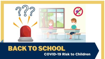 Illustration of a red alarm with question marks, and children sitting in a classroom wearing masks. Text: Back to school - COVID-19 risk to children