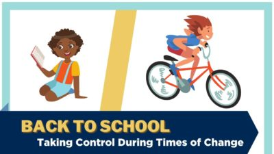 An illustration showing two children, one reading a book and the other riding a bike. Text: Back to school - Taking control during times of change