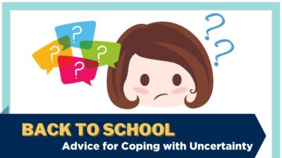 An illustration of a frowning child with thought-bubble question marks. Text: Back to school - Advice for coping with uncertainty