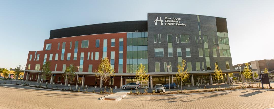 Exterior or Ron Joyce Children's Health Centre hospital building