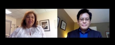 A screenshot of Dr Alexandra Papaioannou & Aaron Lam from the Innovations in Vital Care webinar series.