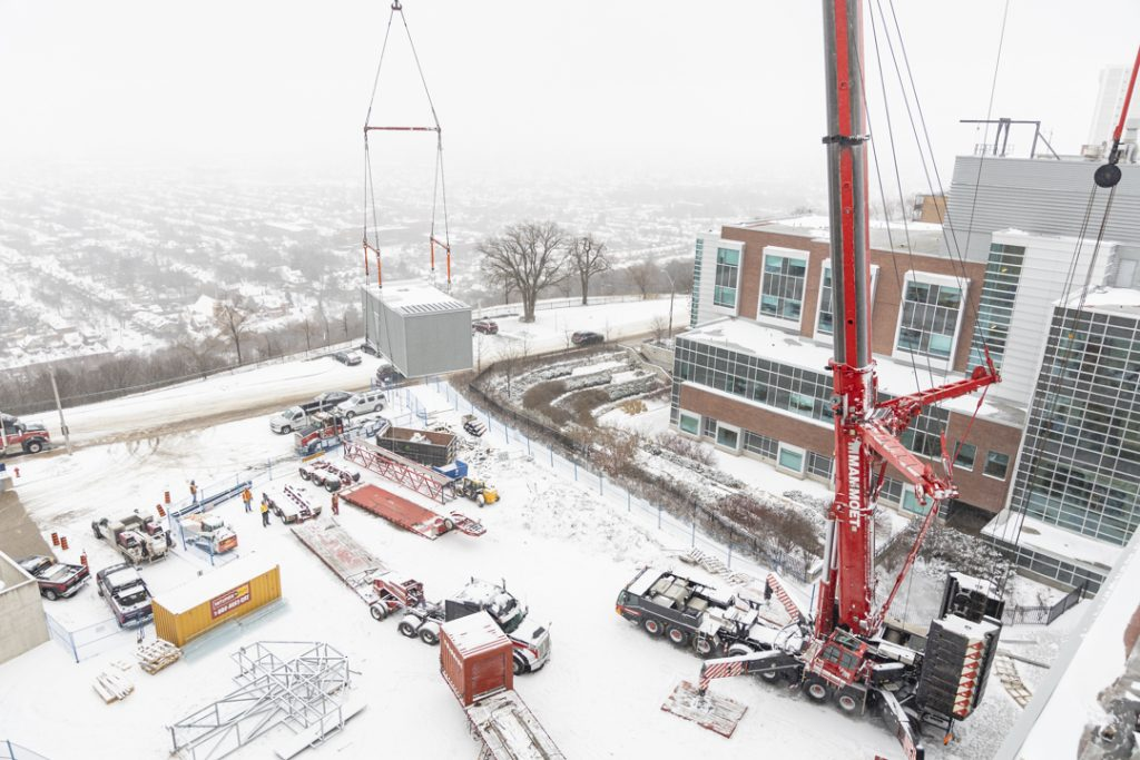 Crane outside in snow at Juravinski Hospital and Cancer Centre