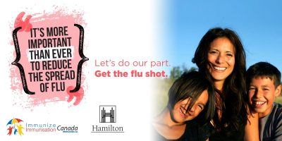 Let's do our part. Get the flu shot. Photo of family.