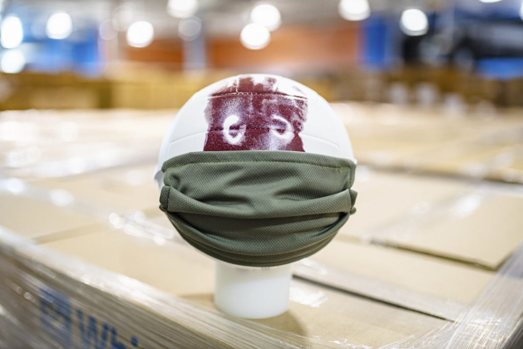 Wilson the volleyball from Cast Away, wearing a mask