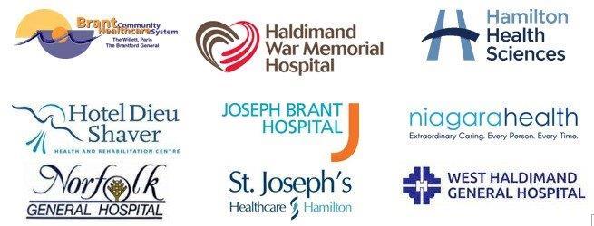 logos for Brant Healthcare, Halidmand War Memorial Hospital, Hamilton Health Sciences, Hotel Dieu Shaver, Joseph Brant Hospital, Niagara Health, Norfolk General Hospital, St. Joseph's Healthcare Hamilton and West Haldimand General Hospital