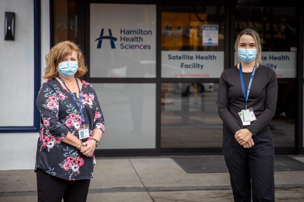 Social worker Debbie Jones and charge nurse Jessica Franceschin outside the Satellite Health Facility /