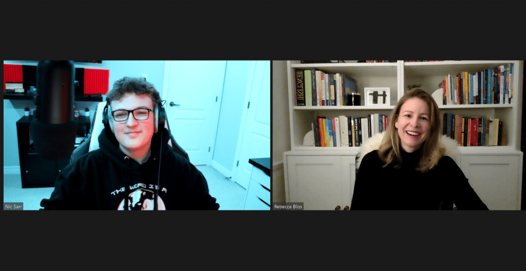 Nick and Rebecca on two screens, on a virtual appointment