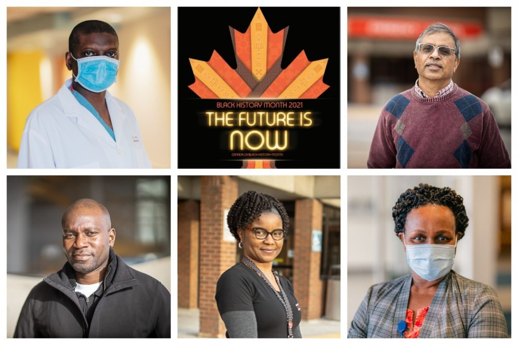 Five headshots of medical professionals and the Black History Month Canada logo