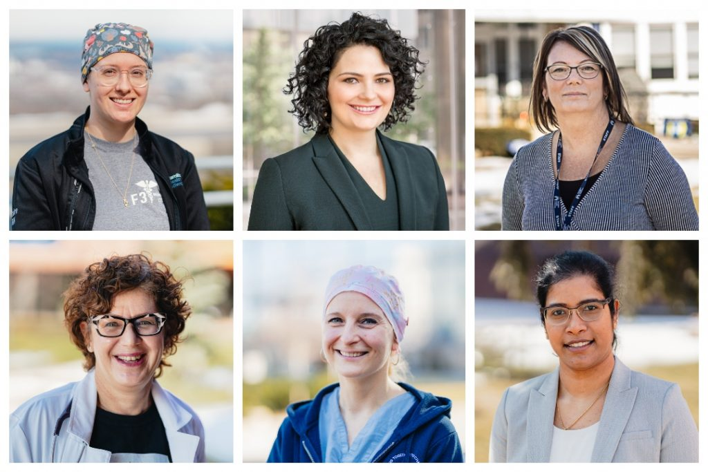 A collage of six head shots of HHS employees, representing International Women's Day