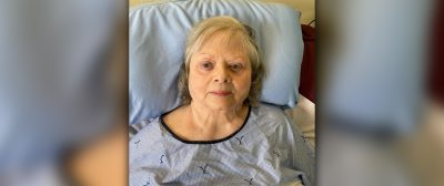 A photo of Joan in her hospital bed