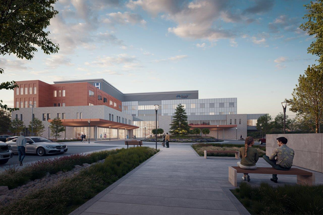 An illustration rendering of the future West Lincoln Memorial Hospital