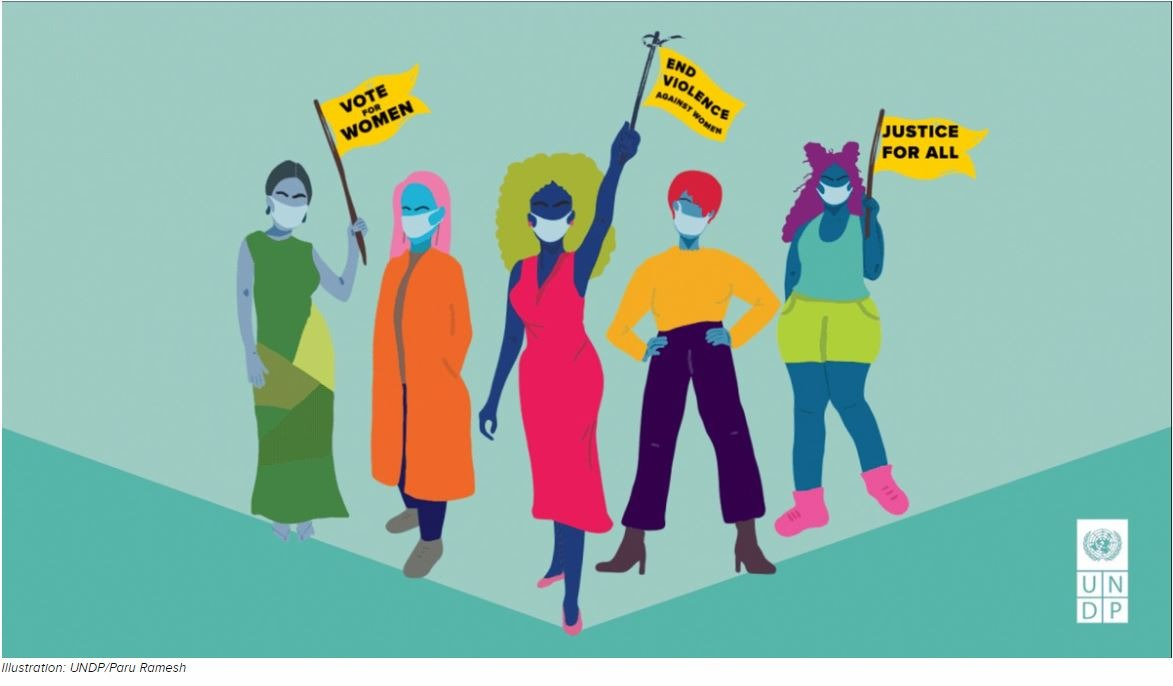 Illustration of five women wearing medical masks and holding flags. Illustration by Paru Ramesh