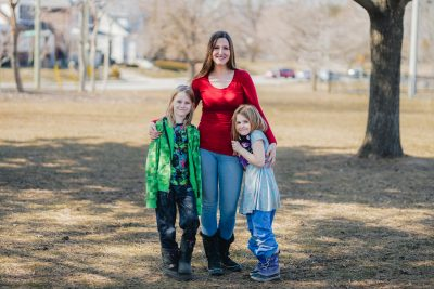 Shondra Holden in a park with her children