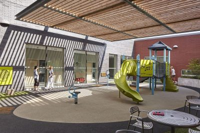 An outdoor playground at McMaster Children's Hospital