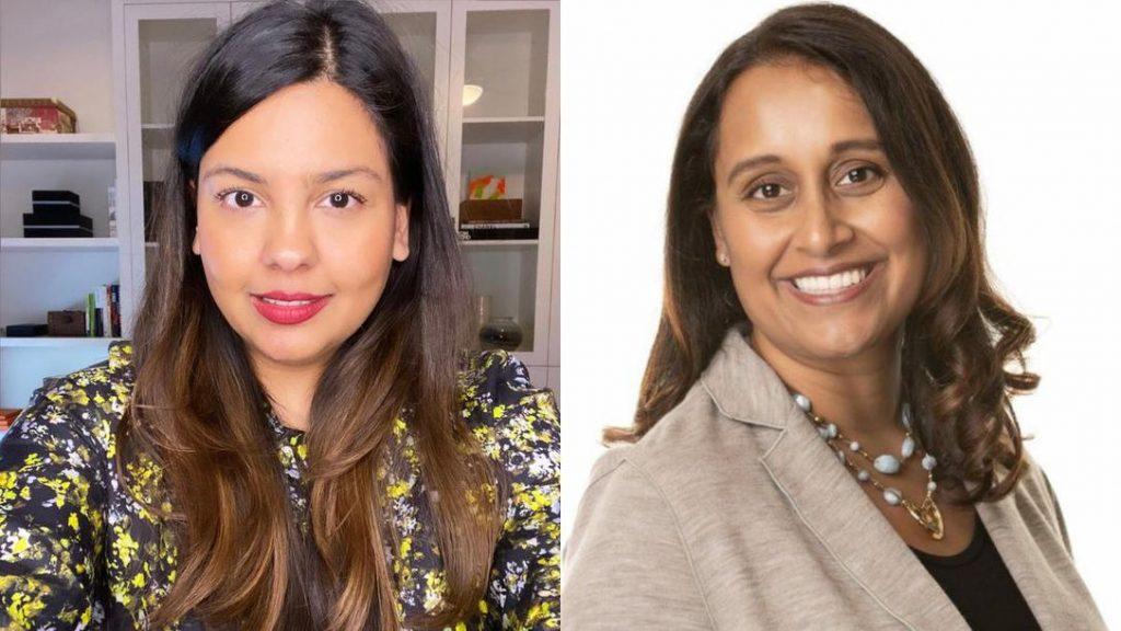 Split screen image of Sabina Vohra-Miller and doctor Menaka Pai