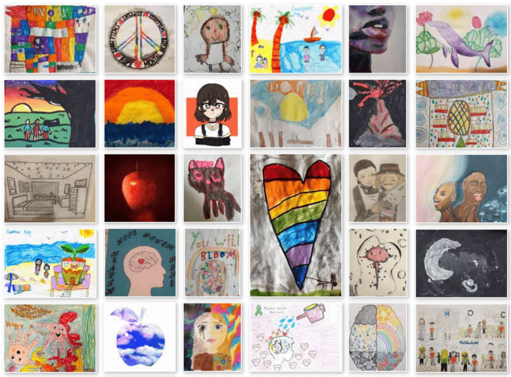 Partial screenshot of the artwork collage at the end of the Child and Youth Mental Health Welcome Package