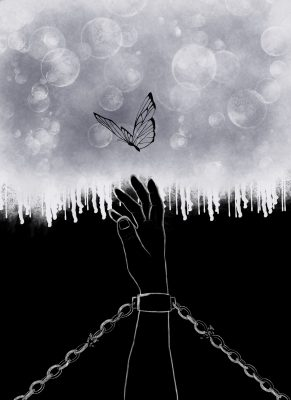A photo of Gillian's art. Bloack and white picture of a hand in achain reaching for a butterfly in the sky.