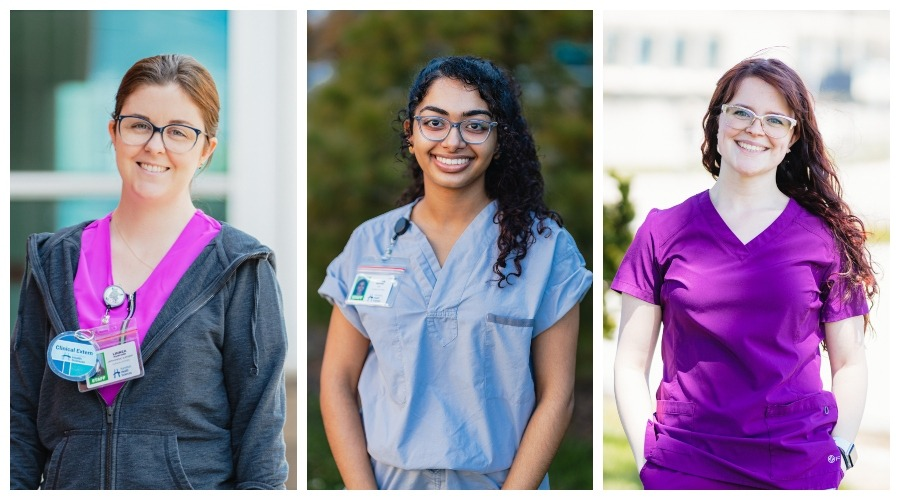 Three young women wearing scrubs and ID badges