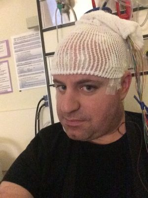 Chris Kindy in the Epilepsy Monitoring Unit at Hamilton General Hospital